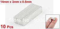 Silver Tone 14mm x 3mm x 0.5mm Rare Earth Neodymium Strong Magnet 10 Pcs