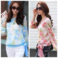 New Fashion Women's Floral Print Pattern Casual Puff Long Sleeve Tops Shirt Flower Chiffon Blouses Women
