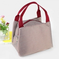 2014 Lunch bag  Waterproof horizontal stripes bag small pack  lunch box package 21*17*15CM Free shipping