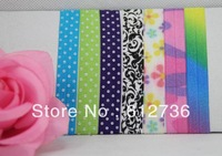 100pcs FOE Printed Fold Over Elastic Hair Ties bracelet wristbands for girl ponytail holder Hair Accessory Free Shipping