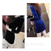 2013 HOT! ROUND NECK VELVET LONG SLEEVE WAIST BOTTOMING DRESS WF-39454