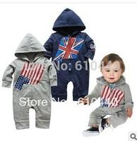 Free shipping!Boys UK USA Flag design long sleeve coveralls Romper children Jumpsuit baby coveralls Romper infant clothing