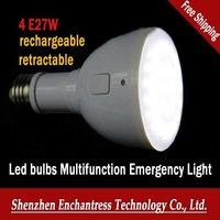 FreeShipping 8 PCS/LOT 4W E27 AC85-265V retractable flashlight rechargeable saving bulb LED bulbs Multifunction Emergency Light