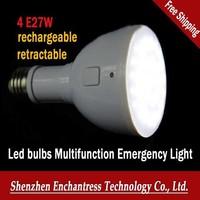 FreeShipping 8 PCS/LOT 4W E27 AC85-265V retractable flashlight rechargeable saving bulb LED bulbs Multifunction Emergency Light