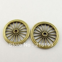 Whosesale Antique Bronze Color Style Car Wheel Gear Charm Pendant 33*33*3MM 15PCS 09682
