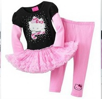 children Autumn  2piece suits  Girls   Long  sleeve  dresses  with leggings  2pcs set  size 2 3 4