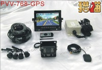 best quality 24voltage truck bus  7inch GPS monitor car reverse camera 4 ultrasonic parking sensor  bus reversing aid