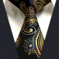 "TF4001B8 Gold Blue Paisley  100% Silk 3.4""  New Jacquard Woven Classic Man's Tie Necktie"