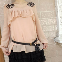 2012 long-sleeve intellectuality gentlewomen fresh elegant chiffon skirt shirt