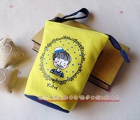 Cartoon figure doodle canvas hemp series vertical coin purse coin pouch