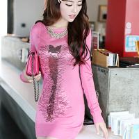 Free shipping B1839031 2013 autumn paillette all-match gentlewomen long-sleeve knitted sweater one-piece dress