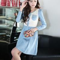 Free shipping 13012105 2013 autumn dot patchwork gentlewomen lace one-piece dress