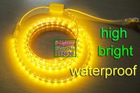 Strip led 5050 220V ip65,EU plug,14.4W/M,5m each lot,goldenYellow / Blue / White,led rope light outdoor,led strip Waterproof
