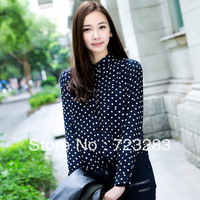 Fashion Sexy Women's Long sleeve  Polka Dot Print Top Shirt Blouse Chiffon