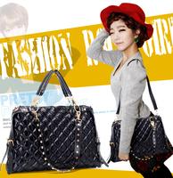 xams gift bag 2014  women's handbag female plaid pleated cotton large capacity 3way rivet one shoulder women's handbag big