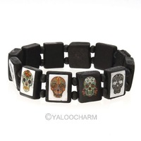 6pcs Fashion Skull Wooden Bracelet Bangles Stretch For Youngers Wear 3 Colors 261847-261849
