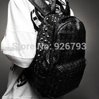 xams gift PUNK bag 2014 men's skull   school  rivet vintage female bags Handbags
