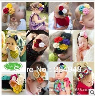 FREE SHIPPING---16 styles Pink flowers girls headbands cute baby flower headbands baby headdress floral hair bands headwear