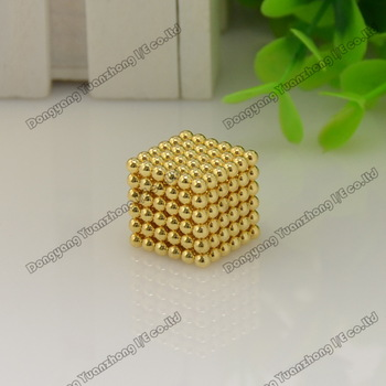 Promotion! Free shipping 3mm Neo cube 216pcs/set with metal box/ Buckyballs,Magnetic Balls, neocube, magic cube/ color:gold