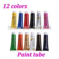 Free Shipping 12 Colors 3D Acrylic Nail Art  Paint Tube Nail Art Tips Draw Painting Pen Pigment Set Gel Tube MY-006