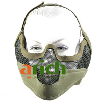 Tactical Steel Net Mesh Style Protect Mask with Elastic Strap & Velcro for Outdoor War Game Activity - Army Green