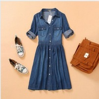 Fashion Lady's denim dress denim one piece dress blue slim jeans women's casual dress half three quarter sleeve plus size dress