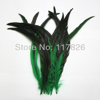Free Shipping 100pcs/lots Good Quality Green Dyed Rooster Tail feathers 16-18''/40-45cm For the Craft JR3-3