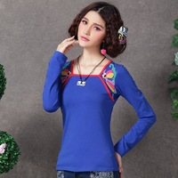 Chinese elements  women's top long-sleeve 2013 autumn square collar long-sleeve embroidery flower t-shirt basic shirt
