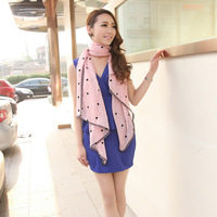 2013 spring new arrival top lace polka dot design long chiffon silk scarf cape scarf
