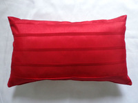 Polyester Faux Silk Pleated Cushion/Pillow Cover in Red in 30x50cm