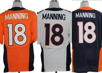 Men's Denver Football Jerseys Elite 18 Peyton Manning Team color Home Orange Road White Alternate Navy Bule Authentic Jerseys