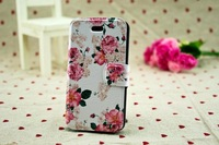 1pcs 2013 New Arrival Luxury Fashion Beautiful Flower Pattern Holster PU Flip Leather Cover Protect Case For iPhone5 Nice Gift