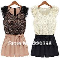Free Shipping 2013 summer silk dresses plus size chiffon lace denim one-piece casual lace denim dress pants  k159