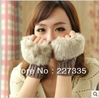 Free shipping! 1 Pair New Winter Women Wool Fur Gloves 7 Colors Arm Warmer Gloves Fingerless Knitted Mittens Keyboard Gloves