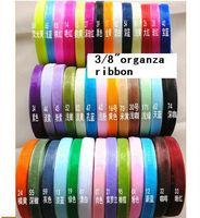 """free shipping 10MM ribbons 3/8"""" organza ribbon wholesale  novelty gold sheer ribbon apparel & accessories fabric mix color"""