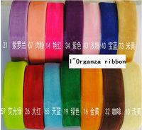 """1"""" ribbons 25mm organza ribbon free shipping gift packing accessories Red Organza Sheer Ribbon Wedding Party tape cheap Mixed"""