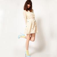 2014 hot sale new arrival  fashion o neck three quarter sleeve embroidery women dress