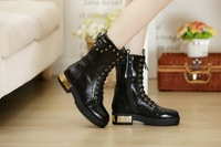 2013 autumn and winter high-leg boots zipper boots thick heel martin boots fashion front strap boots