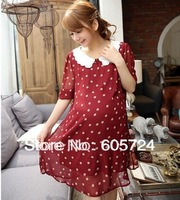 New fashion Maternity clothing maternity summer dot one-piece dress 04