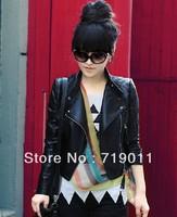 Free shipping Brief Women Motorcycle Leather Clothing Short Jacket Female 2013