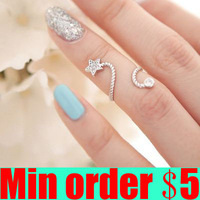 Fashion Starfish Five-pointed Star Flowers Spiral Opening Joint Rings