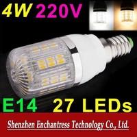 FreeShipping 6PCS/LOT Energy saving Mini LED Bulb SMD 5050  220V 4W E14 LED Bulb Lamp with 27 LED Corn Light