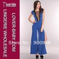 Free Shipping Fashion Blue/Black We Mesh Inset Side Slit Jumpsuit Playsuit Clubwear