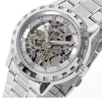 With box,Free shipping! Wilon Luxury Stainless Steel Mechanical Watch Skeleton Men's Wrist Watch , high quality