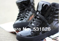 Free shipping Korean version of women's shoes fluorescent color candy bread patent leather flat casual shoes, high shoes