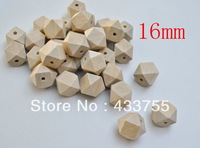 Free shipping! 100pcs/lot 16mm natural unfinished geometric wood spacer beads jewelry /DIY wooden necklace