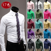 Free shipping 60pcs/lot Mens Casual Shirts Male Slim Fit Solid Fashion Candy Color Men's Long-sleeve Shirt Mens dress shirts