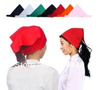 Hotels Restaurant waiter Adjustable Velcro headscarf  Woman Kitchen Dust cap  Waiter chef hat, D31
