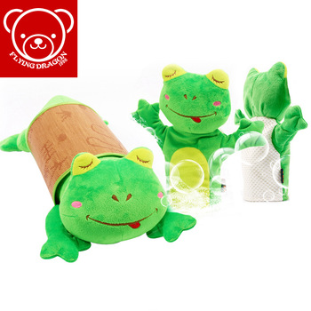 Free Shipping! Frog 2 piece set nap pillow puppet home