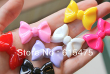 100PCS 19*14mm Flat Back Resin bowknot cameo/cabochon For DIY necklace/ring/earring pendant Jewelry Decoration,Mixed colors